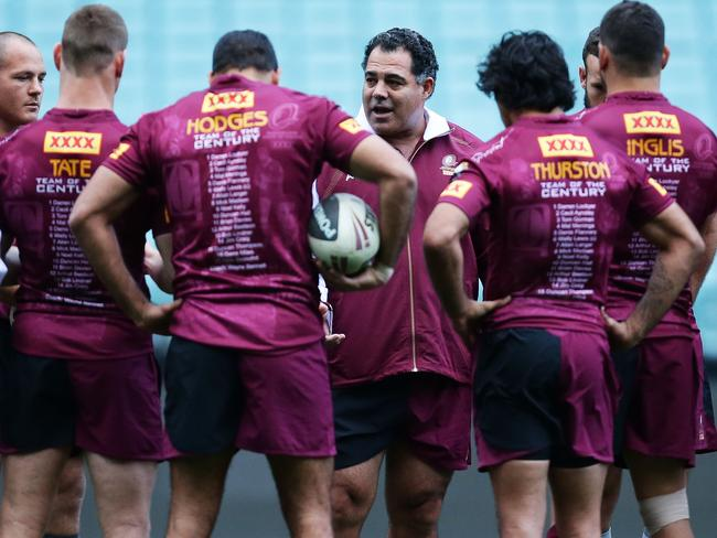 Mal Meninga speaks to players from the 2013 Maroons team. Picture: Getty Images