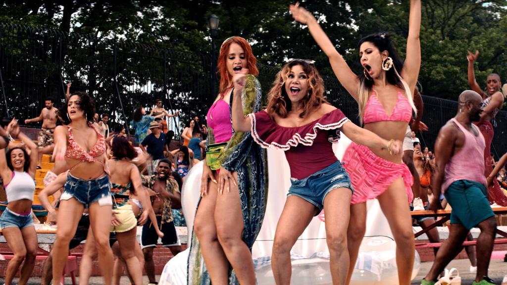 "Dascha Polanco, Daphne Rubin-Vega and Stephanie Beatriz in the ""96,000"" dance sequence."