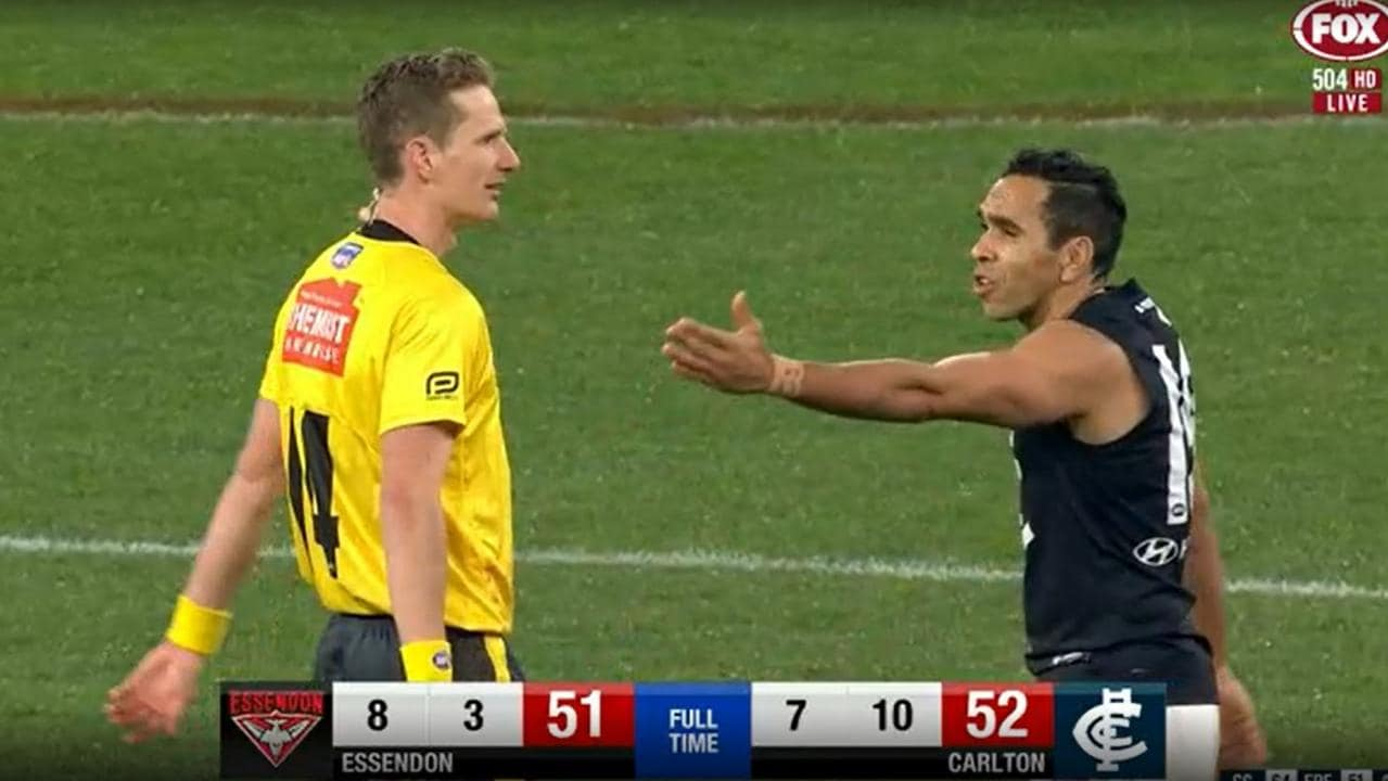 Eddie Betts questioned the 50m penalty call late in the game.