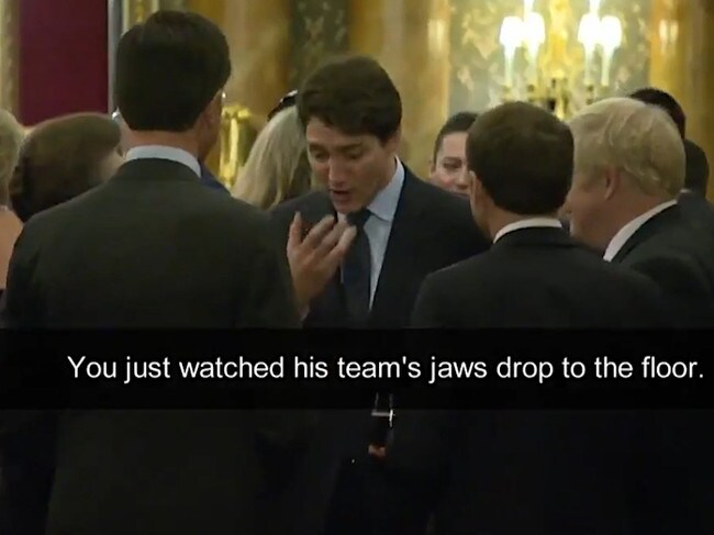 Part of a conversation between world leaders was captured on camera.