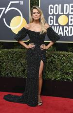 Renee Bargh arrives for the 75th Golden Globe Awards on January 7, 2018, in Beverly Hills, California. Picture: AFP PHOTO / VALERIE MACON
