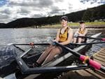 Scotch Oakburn College (L-R) Jasmine Harris 14 and Sasha Yuvchenko 14 during the Junior Sculling Regatta at Lake Barrington. PICTURE CHRIS KIDD