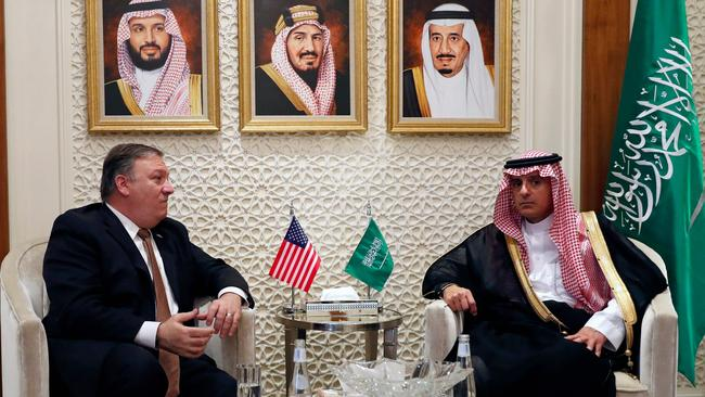 US Secretary of State Mike Pompeo (L) meets with Saudi Foreign Minister Adel al-Jubeir in Riyadh. Picture: AFP