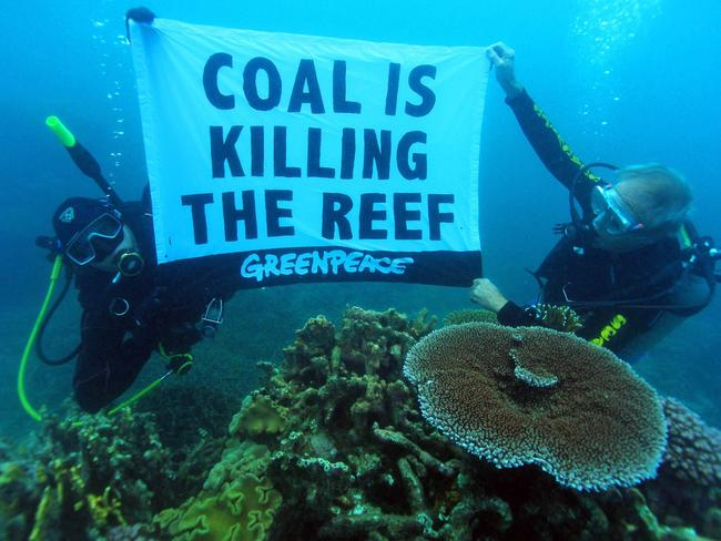 Coral scientist Dr John 'Charlie' Veron dives for an underwater protest in the Great Barrier Reef. Picture: Supplied