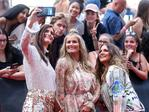 Brooke McClymont, Samantha McClymont and Mollie McClymont of The McClymonts arrive on the red carpet for the 31st Annual ARIA Awards 2017 at The Star on November 28, 2017 in Sydney, Australia. Picture: Getty