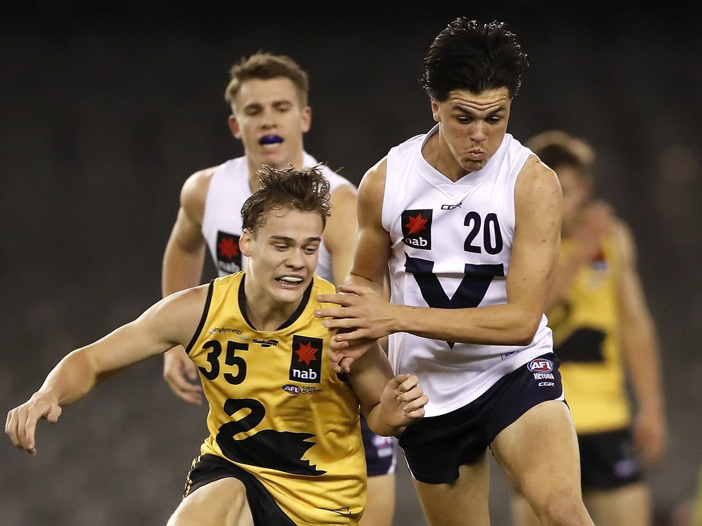 Elijah Hollands competing with (now-Demon) Trent Rivers at the 2019 Under 18 Championships. Picture: Dylan Burns