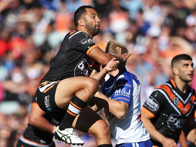Tiger's Benji Marshall kicks during an NRL match between the Wests Tigers and Canterbury-Bankstown Bulldogs. Picture: Phil Hillyard