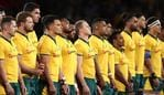 SYDNEY, AUSTRALIA - SEPTEMBER 07: Wallabies line up before the International Test match between the Australian Wallabies and Manu Samoa at Bankwest Stadium on September 07, 2019 in Sydney, Australia. (Photo by Mark Metcalfe/Getty Images)