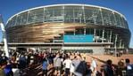 PERTH, AUSTRALIA - JANUARY 21: Crowds gather waiting for the official opening at Optus Stadium on January 21, 2018 in Perth, Australia. The 60,000 seat multi-purpose Stadium features the biggest LED lighting system of its kind in the world, with more than 15,000 LED lights installed for visual displays. Construction on the $1.4 Billion stadium started in December 2013, and is scheduled to official open on 21 January 2018. (Photo by Paul Kane/Getty Images)