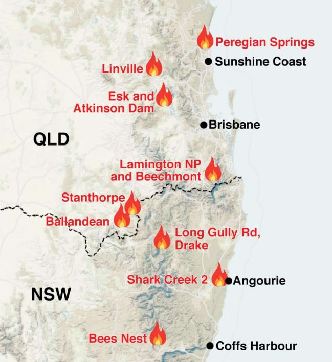 QLD bushfires: Map reveals worst hit places | Are there ...