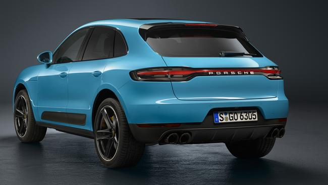 Sports car style: The updated Macan's tail-lights stretch the width of the vehicle.