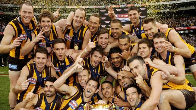 The Hawks celebrate the 2013 premiership. Picture: Wayne Ludbey