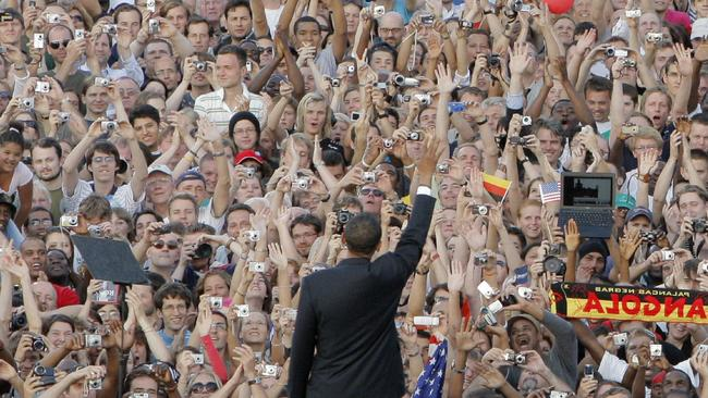 Mr Obama waving to the crowd during a trip to Berlin early in his presidency. He's popular overseas. Pic: AP