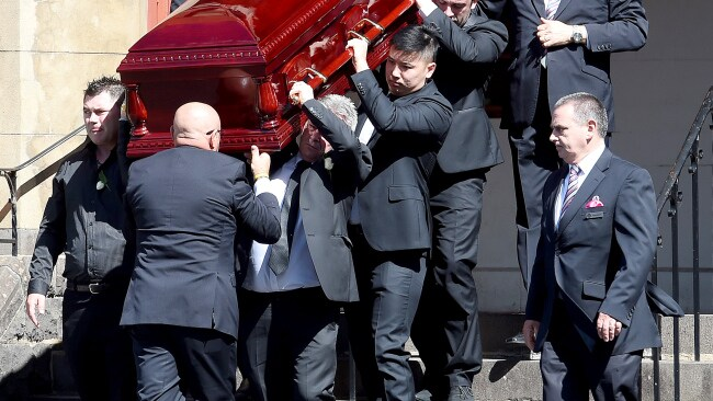 Borce Ristevski helped carry Karen's casket at her funeral. Picture: Nicole Garmston