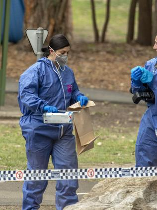 Forensic officers at the scene. Picture: Jenny Evans.