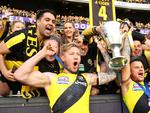 MELBOURNE, AUSTRALIA - SEPTEMBER 30: Nathan Broad of the Tigers and Brandon Ellis of the Tigers celebrate with fans after winning the 2017 AFL Grand Final match between the Adelaide Crows and the Richmond Tigers at Melbourne Cricket Ground on September 30, 2017 in Melbourne, Australia. (Photo by Cameron Spencer/AFL Media/Getty Images)