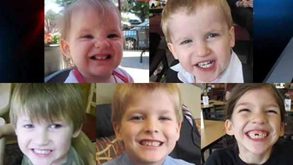 Top-left to bottom-right: Abigail Elizabeth, Gabriel, Nathan, Elias and Merah, the kids of Timothy Jones. Picture: Supplied