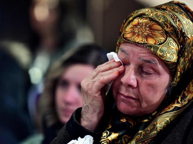 Bida Osmanovic, survivor of the Srebrenica 1995 massacre, cries at the Srebrenica memorial in Potocari. Picture: AFP
