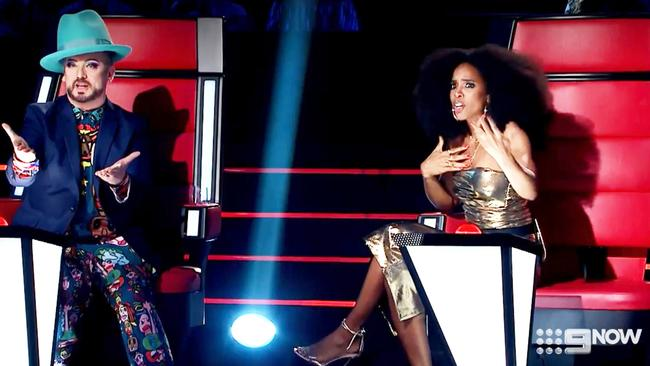 Boy George and Kelly Rowland had a fiery confrontation on The Voice. Picture: Channel 9