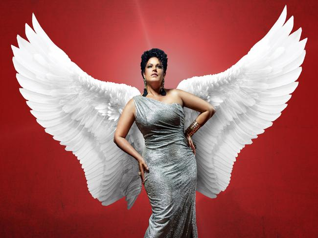 Christine Anu as the Teen Angel in  <i>Grease - The Arena Experience</i>.