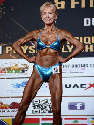 Janice Lorraine is 72 years old here, competing in the 2015 Dubai-INBA World Championships.