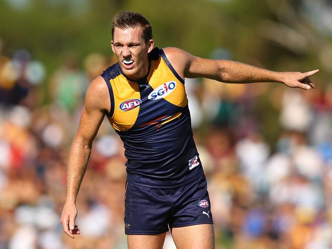 West Coast's Drew Petrie will face North Melbourne.