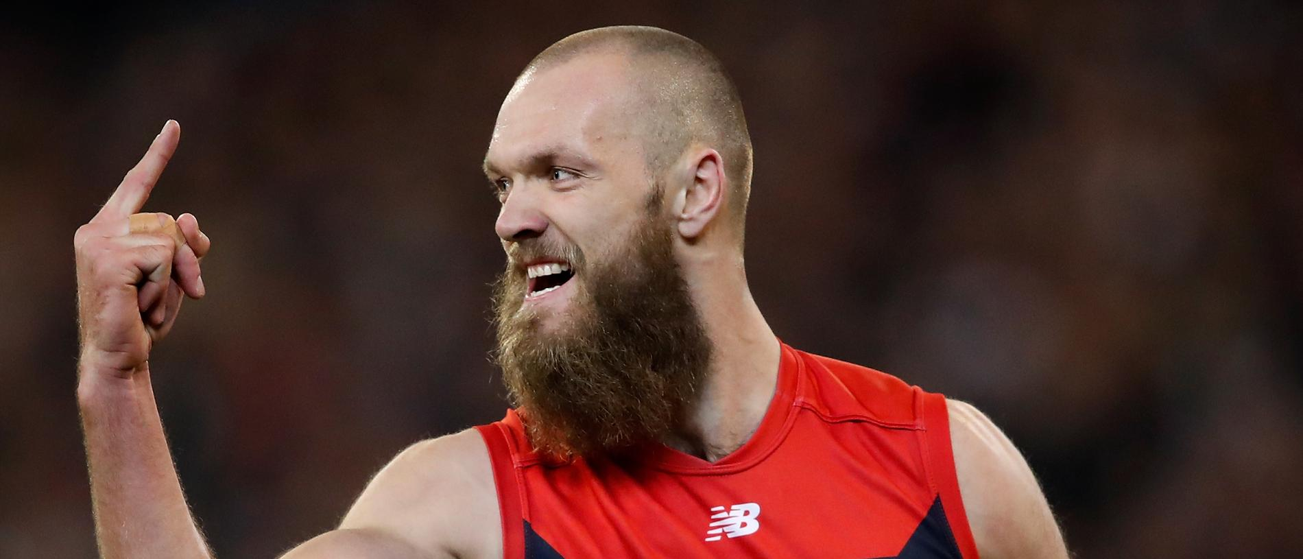 MELBOURNE, AUSTRALIA - SEPTEMBER 07: Max Gawn of the Demons celebrates a goal during the 2018 AFL First Elimination Final match between the Melbourne Demons and the Geelong Cats at the Melbourne Cricket Ground on September 07, 2018 in Melbourne, Australia. (Photo by Adam Trafford/AFL Media/Getty Images)