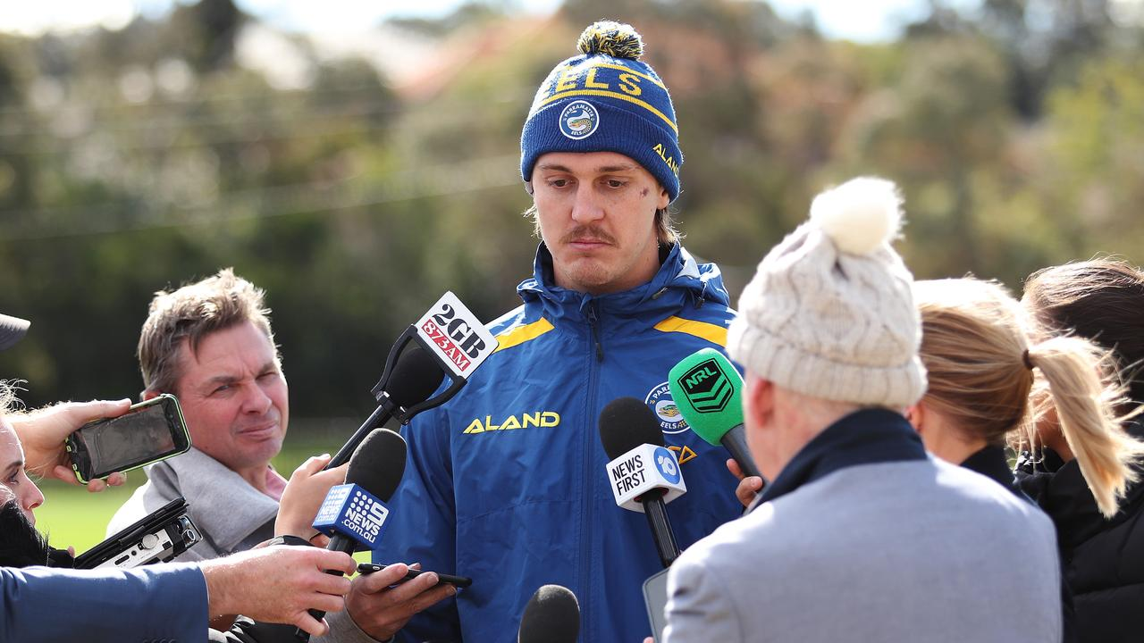 Parramatta Eels NRL player Shaun Lane apologises for his Mad Monday incident during a press conference. Picture: Brett Costello