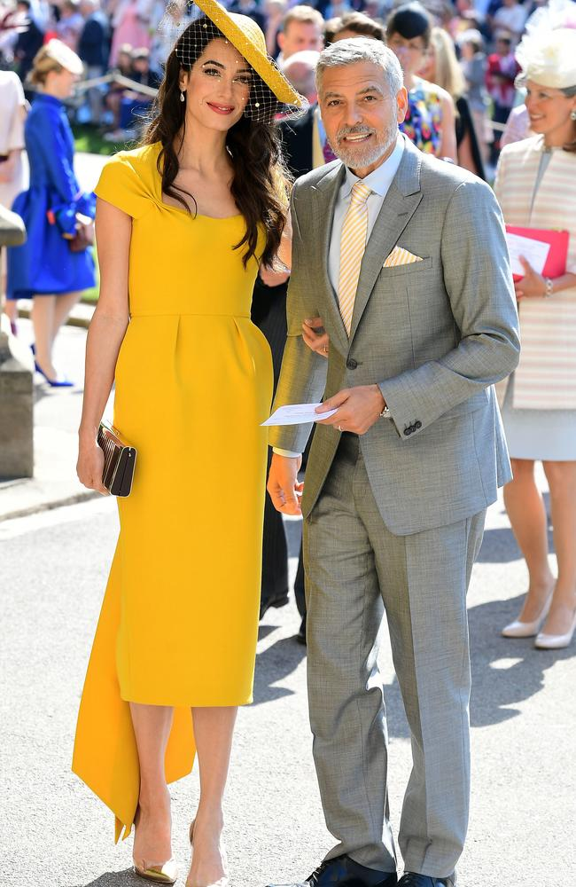 Amal and George Clooney arrive for the wedding. Picture: AFP/ POOL / Ian West