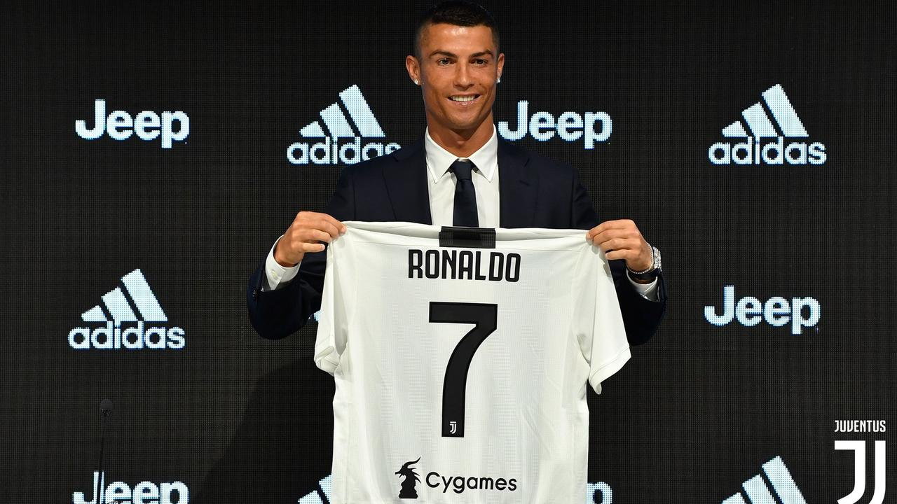 Cristiano Ronaldo at his first press conference as a Juventus player.  Picture  Supplied be571313e
