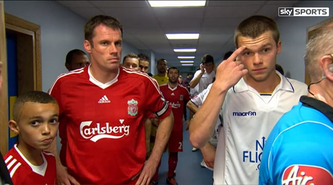 Trent Alexander-Arnold with Jamie Carragher in 2009.