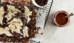 These chocolate tahini brownies star skin-boosting collagen. Image: Supplied