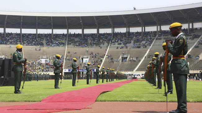 Soldiers line the red carpet where the coffin carrying the remains of Mugabe passed through.