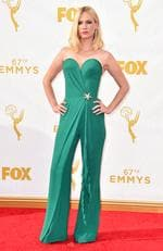 January Jones arrives at the 67th Primetime Emmy Awards on Sunday, Sept. 20, 2015, at the Microsoft Theater in Los Angeles. (Photo by Jordan Strauss/Invision/AP)