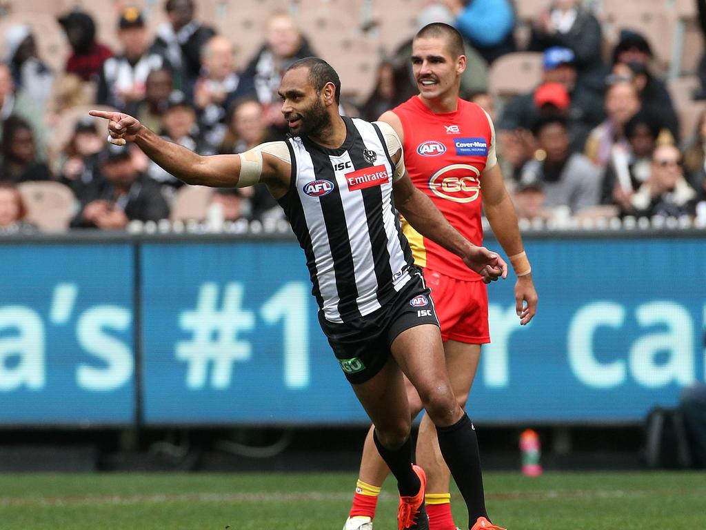Travis Varcoe is playing on for the Pies. Photo: Hamish Blair
