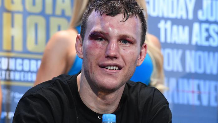 Australian boxer Jeff Horn looks on during a press conference following his WBO World Welterweight Title win over Manny Pacquiao of the Phillipines at Suncorp Stadium in Brisbane, Sunday, July 2, 2017. (AAP Image/Dave Hunt) NO ARCHIVING, EDITORIAL USE ONLY