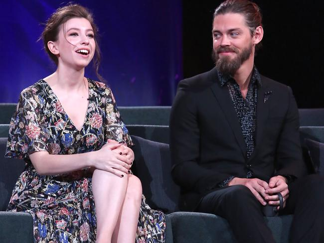 Katelyn Nacon and Tom Payne speak onstage at The Walking Dead 100th Episode Premiere and Party. Picture: Getty