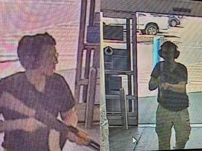 This CCTV image shows the gunman identified as Patrick Crusius as he enters the Cielo Vista Walmart store in El Paso. Picture: AFP
