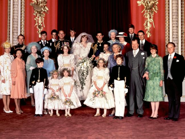 Princess Margaret (centre row, second from left) at Charles and Di's wedding. Picture: AFP