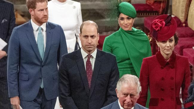 Harry, William, Meghan and Kate depart the Abbey with Prince Charles. Picture: Phil Harris / Pool via AP