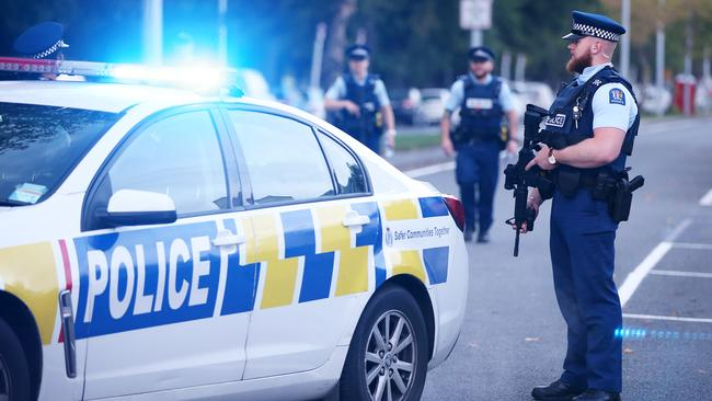 Christchurch remains on high alert, with additional police deployed across the city. Picture: Getty