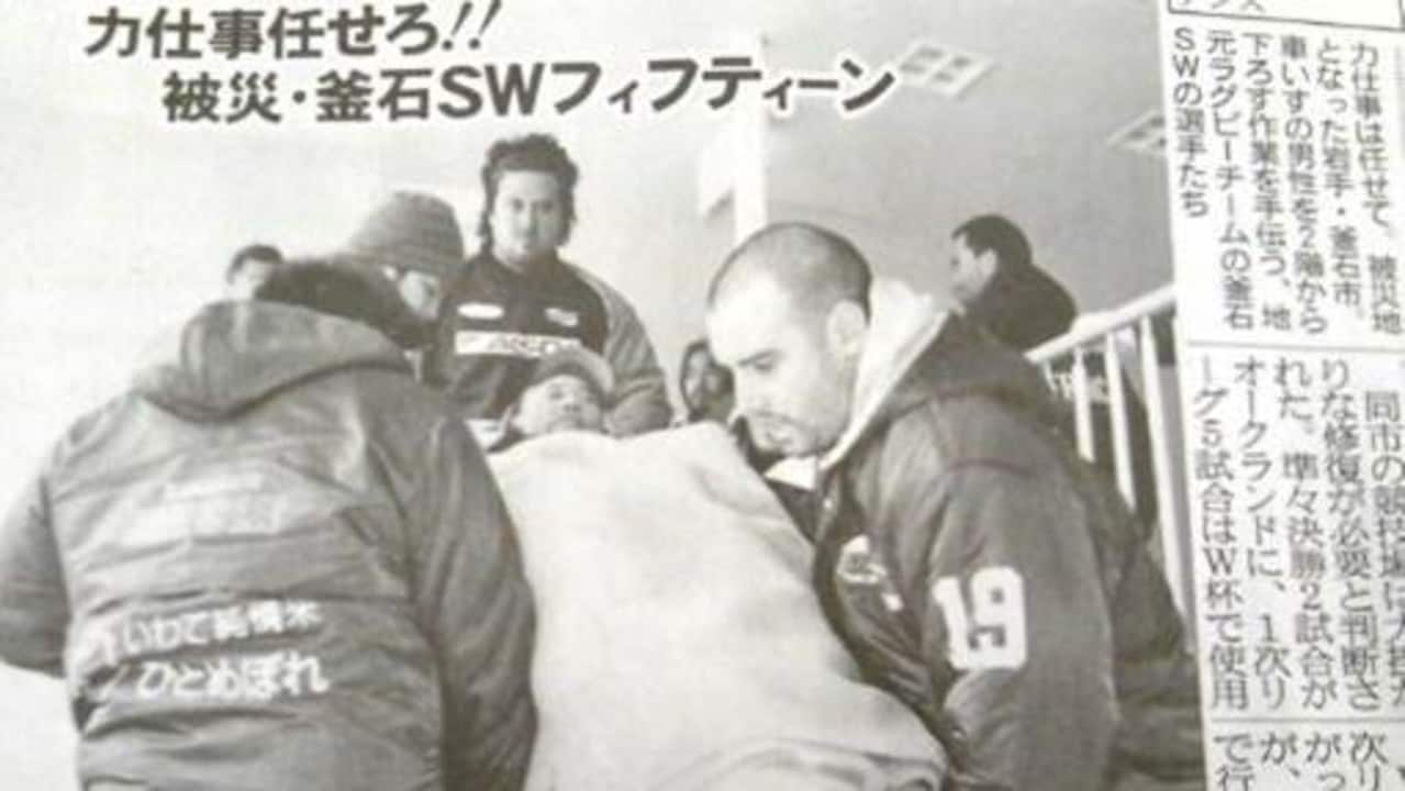 Former Wallaby Scott Fardy assists during the recovery effort following the tsunami that hit Kamaishi.