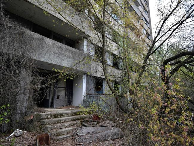 A deserted residential building in the 'ghost town' of Pripyat near the Chernobyl Nuclear Power Plant. Picture: Genya Savilov