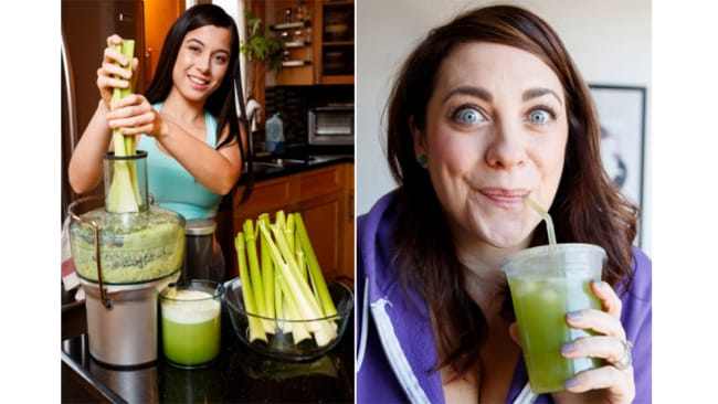 Kayla Paz (left) and Sarah Joy Madsen say they have both gotten boosts from drinking celery juice every day. Image: Annie Wermiel/NY Post; Brian Zak/NY Post.