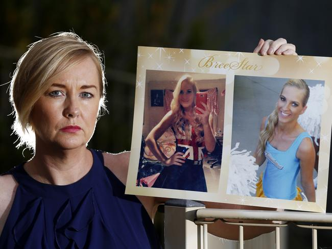 Janine Mackney, holding photos of her late niece Breeana Robinson, has fought for years to have an inquest which will now be held in November. Picture: Jerad Williams.