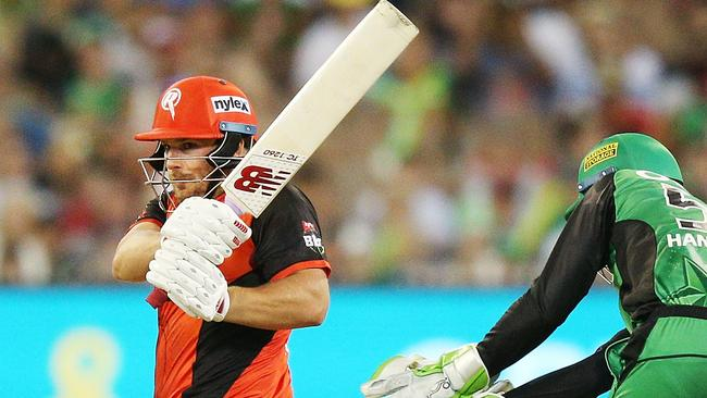 Aaron Finch plundered 22 off Michael Beer's first over to set the Renegades on course to victory. Photo: Michael Dodge
