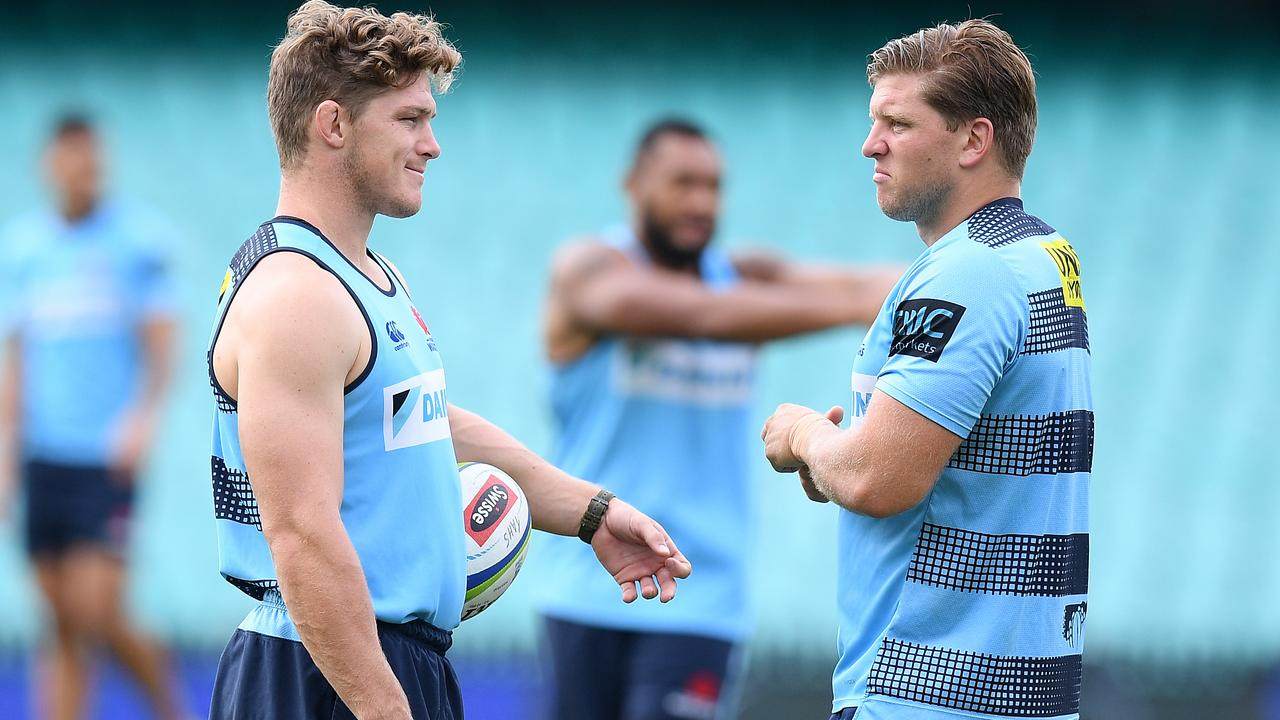 Waratahs players Michael Hooper and Damien Fitzpatrick at the Sydney Cricket Ground.