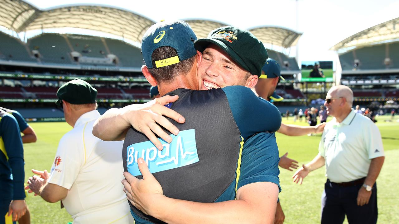 Marcus Harris and Justin Langer embrace at the Adelaide Oval. Photo: Ryan Pierse/Getty Images.