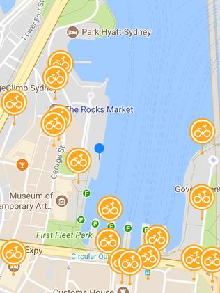 The oBike app shows users where the nearest available bikes for rent are located. Picture: oBike.