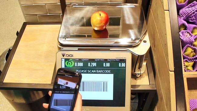 Loose items can be weighed, with a barcode then appearing. When the barcode is scanned, it transfers the dollar amount to the app.